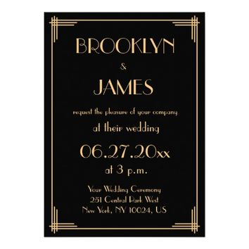 "Black Great Gatsby Art Deco Wedding Invitations 5"" X 7"" Invitation Card"