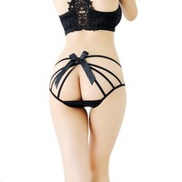 Women Sexy Low Waist Bow Temptation States Arm Hollow Lace Thongs Panties