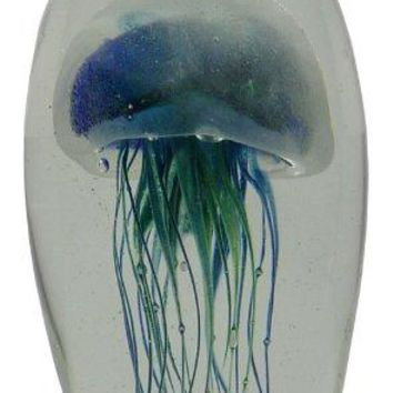 "Glass Jellyfish Paperweight Blue Green 6"" Glows in the Dark"