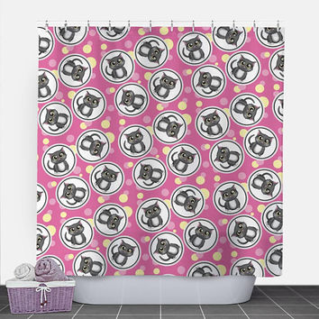 Cat Shower Curtain - Fuchsia Pink and Yellow Cat Pattern - 71x74 - PVC liner optional - Made to Order