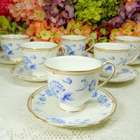 6 Beautiful Wedgwood Porcelain Cups & Saucers Cobalt Blue Flowers Scalloped Gold