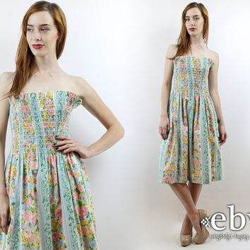 Vintage 70s Strapless Floral Summer Dress L XL Smocked Dress Strapless Dress Floral Dress L Dress XL Dress Floral Mini Dress