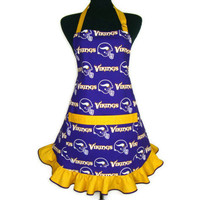 Minnesota Vikings Apron, Retro Hostess Style with Ruffle and Pocket