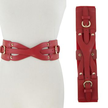 Women Western Intersecting Strap Faux Leather Corset Elastic Stretch Waist Belt