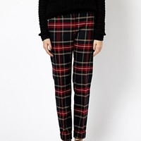 Mango Plaid Tapered Trousers