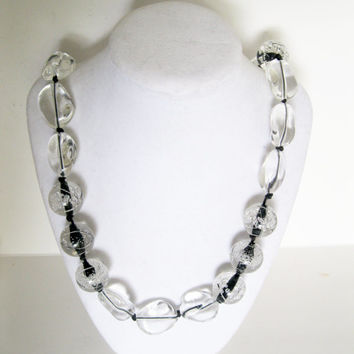 Lucite Bead Necklace Clear and Black Vintage