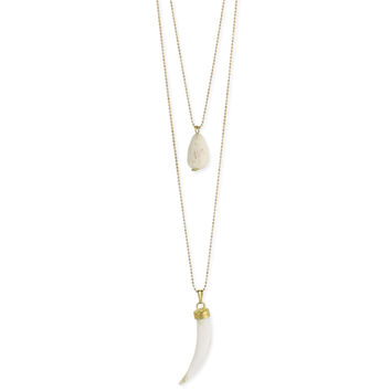 Gold and White Shell Horn Long Necklace