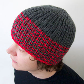 unisex vegan hat made by hand -- the torse in charcoal grey and bright red stripes