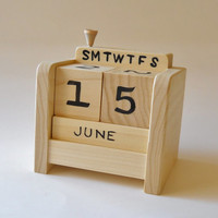 Perpetual Desk Calendar, Wooden Block with moveable peg or golf tee