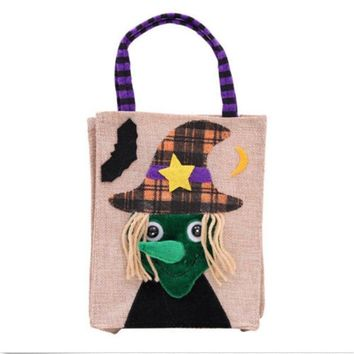 Mayitr 1pc Cartoon Halloween Gift Bag Kids Trick Or Treat Bags Cat Pumpkin Skull Printed Candy Sweet Bag for Home School Party