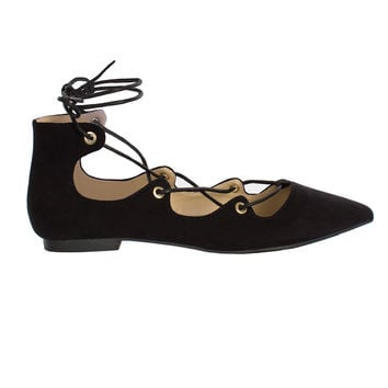 Lilah Lace-Up Ballet Flats-FINAL SALE