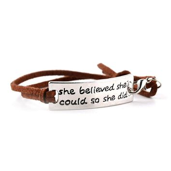 "Inspirational quote leather bracelet ""she believed she could"""