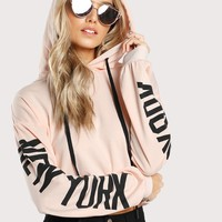 New York text sleeve hoodie sweatshirt