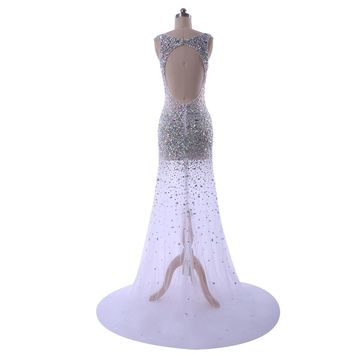 Backless prom dress A-Line beading party dresses elegant gowns long train evening gown