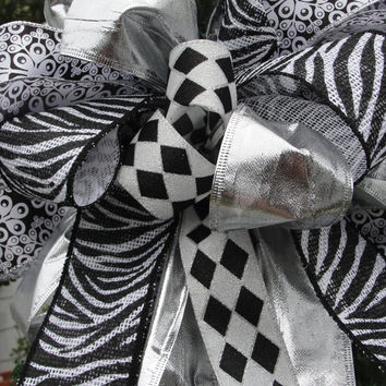 Black White Christmas Tree Top Bow/Zebra Burlap /Diamond Silver Ribbon Wreath Bow/New Years Decoration