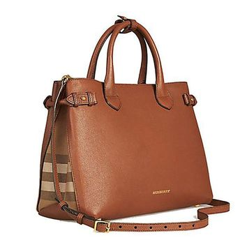 CREYIX5 Tote Bag Handbag Authentic Burberry Medium Banner in Leather and House Check TAN Item 39807941