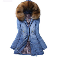 Winter Women Jacket 2015 Big Yards Long Thick Denim Cotton-padded Parka Casual Winter Coat Women Hooded Fur Collar Coat ZL043