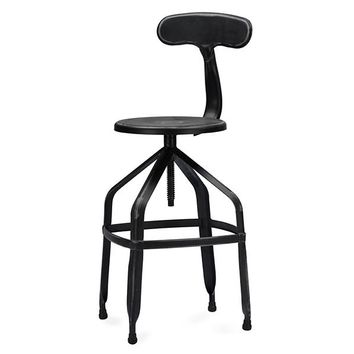Baxton Studio Architect's Industrial Bar Stool with Backrest in Antique Black Set of 1