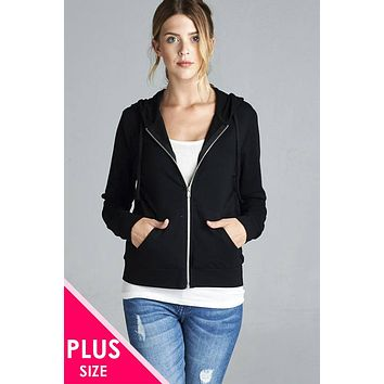 Womens winter casual fashion style jacket Long Sleeve Zipper French Terry Jacket W/ Kangaroo Pocket