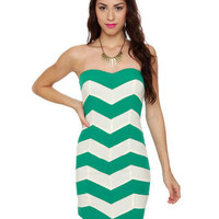 Cute Strapless Dress - Teal Dress - Color Block Dress - $44.00