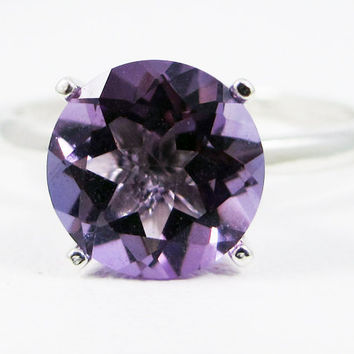 Large Lavender Amethyst Solitaire Ring, 925 Sterling Silver, February Birthstone Ring, Amethyst Solitaire Ring, Purple Amethyst Ring