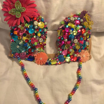 Flower Goddess plunge rave top,  rave bra,  EDC outfit, EDC bra, tomorrowworld outfit, festival outfit, Rave bra, rave top