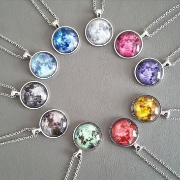Colored Full Moon Glow In The Dark Necklace Pendant
