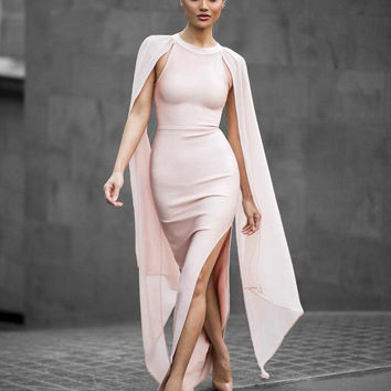 New Elegant Front split sleeveless silk cape sexy bodycon women runway dress black beige maxi evening party bandage Dress