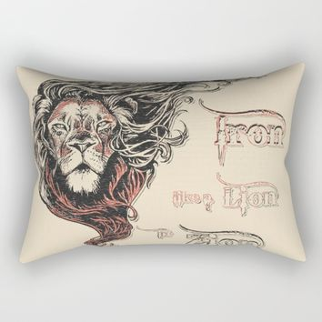 Rastafarian Iron Like Lion in Zion, peace, love, reggae music king Rectangular Pillow by Peter Reiss
