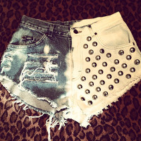 High Waisted Distressed Frayed Bleached Studded Denim Shorts/Cutoffs-Style 5