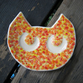Ceramic Cat Plate - Jewelry Tray - Ceramics and Pottery - Cat Decor - Ceramic Decor - Cat Dish - Ring Dish - Spoon Rest