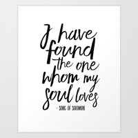 I Have Found The One Whom My Soul Loves,Christian Print,Scripture Art,Bible Verse,Bible Print,Bible Art Print by TypoHouse