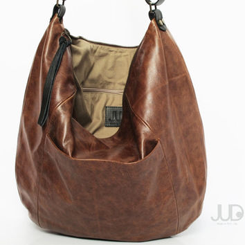 Brown leather bag - soft leather purse SALE -leather hobo bag - leather tote bag - leather shoulder bag -  cross body bag - large bag JUDtlv