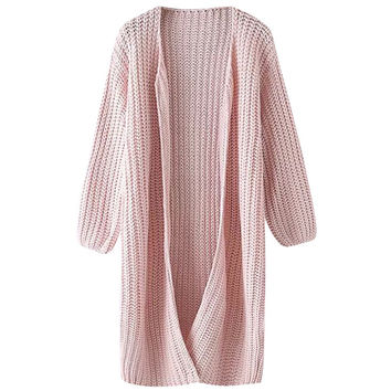 Pink Knitted Long Cardigan
