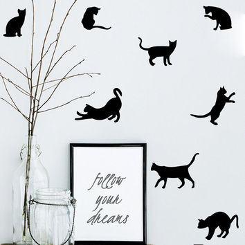 Variety of colors 9pcs/set Mini style Cat wall sticker Vinyl kids rooms decoration wall decals home decor sticker mural Vy078