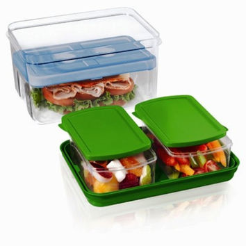 Fit & Fresh Lunch on the Go Set with Ice Pack, 3 Reusable Portion Control Containers, BPA-Free, Microwave/Dishwasher Safe Lunch Box