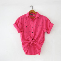 Vintage cotton shirt. Hot pink shirt. Short sleeve shirt. Printed button up shirt.