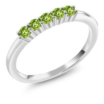 0.35 Ct Round Peridot 925 Sterling Silver Five Stone Anniversary Wedding Band