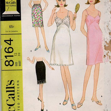 McCall's 60s Sewing Pattern Mad Men Style Fashion Knee Length Negligee Lingerie Half Slip Nightgown Camisole Bust 32
