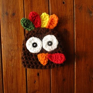 Crochet Chocolate Baby Turkey Hat Newborn Photography Prop