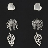17KM New Retro Fashion Charm Silver Color boho Earrings Vintage Minimalist Stud Earrings For Women 3 Pair Jewelry Love