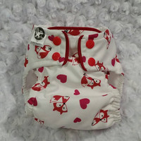 Valentine Foxes and Hearts Cloth Diaper Cover or Pocket Diaper - One-Size or Newborn, S, M, L