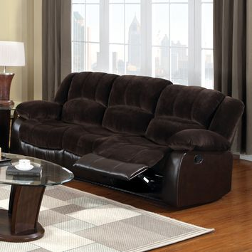 Nena Transitional Leatherette Champion Fabric Sofa Recliner, Brown