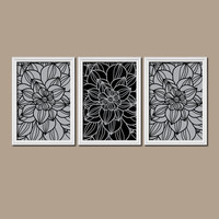 Gray Black Bedroom Wall Art Gray Bathroom Wall Art Bedroom Pictures Flower Wall Art Flower Pictures Dahlia Flower Prints Set of 3 Home Decor