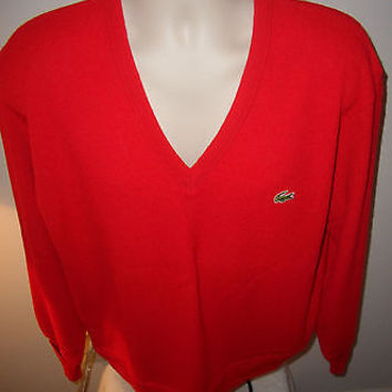 Vintage 80's Izod Lacoste Polo Orlon Acrylic Sweater  Large RED Made in USA