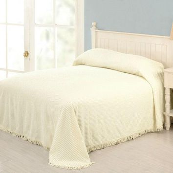 King Size Ivory Bedspread 100% Cotton Chenille With Fringed Edges