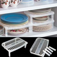 White Multifunction Under Sink Shelf Bowl Plate Storage Shelf Rack Dish Rack Organizer Holder for Kitchen Storage Tool