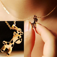 Golden Cutie Giraffe Fashion Necklace