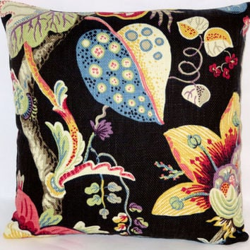 "Black Fantasy Floral Throw Pillow Braemore Wonderland 17"" Square Mod Colorful Blue Purple Red Yellow Ready Ship Insert Included"
