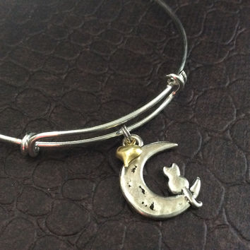 Cat on the Moon with Gold Heart Charm Bracelet Expandable Adjustable Wire Bangle Stacking Handmade Trendy Gift Kitten